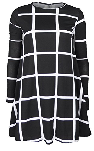 Re Tech UK Damen Kleid Schwarz Schwarz 36 Gr. M/L - 12/14, Black & White Large Squares (Square Print Kleid)