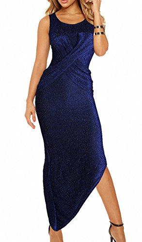 Fashion Damen Maxikleid Ärmellos Abendkleid Spaltung Bodycon Partykleid Cocktail Party Pencil Kleider mit Falten Blau