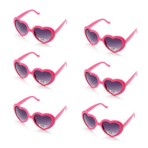 Onnea 6 Stücke Herzform Party Favorisiert Sonnenbrillen für Kinder (6er-Pack Rot)
