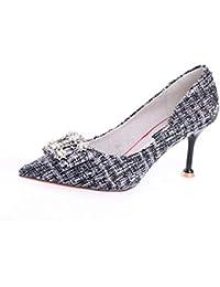 YMFIE Europeo multa con strass aguzzo bocca superficiale elegante temperamento sexy tacchi alti scarpe singole...