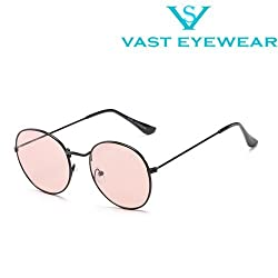 VAST All Day Wear See Through Metal Round Unisex Sunglasses (3447C15_Pink)