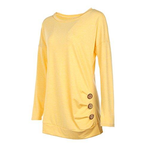 Shinekoo Donna Maniche Lunghe Autunno Camicia Tunica Bottone Casual T-shirt Tops Collare Rotondo Yellow
