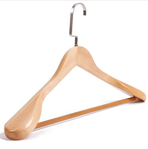 GFYWZ Ganci per adulti in legno massello Uomini signora spalla larga con negozio di abbigliamento asta nessun ganci traccia giacca (pacchetto di 10) , A
