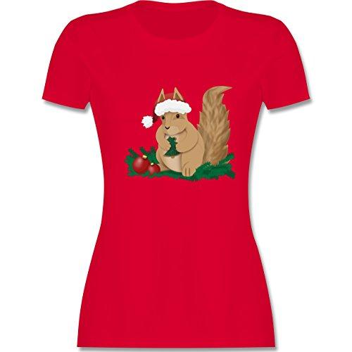 Weihnachten & Silvester - Weihnachten Eichhörnchen - tailliertes Premium T-Shirt mit Rundhalsausschnitt für Damen Rot