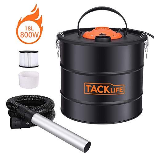 Aspirateur à cendres, TACKLIFE 800W 18L Collecteur de Poussière, Système double filtration, Approprié pour Foyers, Poêles, Fours, Grills - PPVC03A