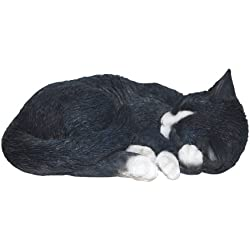 Vivid Arts Ltd - Figura decorativa de gato dormido, color (blanco y negro)