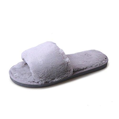 STRLONG Hausschuhe Damen Plüsch Pantoffeln Rutschfester Warm Mädchen Hausschuh Hause Schuhe Pantoletten Weiche Sohle Bequem Flip Flop...