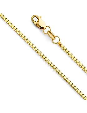 Massive 14 Karat 585 Gold Venezianer Box Kette Unisex Gelbgold -1.20 mm Breit - Verschiedene Längen