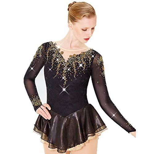 Eiskunstlaufkleid für Damen Langarm Strass Eislaufbekleidung für Mädchen Runder Kragen Hohe Elastizität Wettbewerb Performance Kostüm, 12