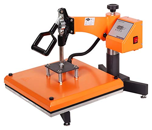 RICOO Transferpresse T538B-GS [38x38cm] T-Shirtpresse Heat Press Thermopresse Textilpresse für Transfer-Folie Transfer-Papier || Gelb/Orange ||