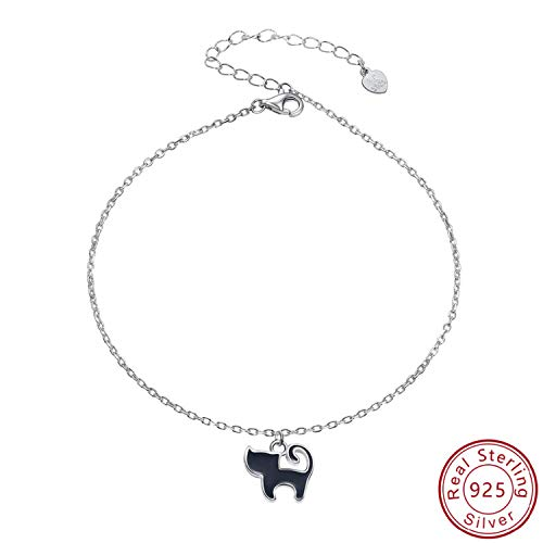 HIWSSH Gürtel-Sterling Silver 925 Enamel Animal Cat Anklets For Women Summer Leg Bracelet Ladies Female Foot Chain Jewelry Girl Gift A330 Childrens Place Jeans