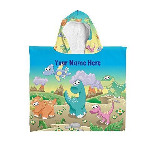 L&S PRINTS Kinder Personalisiert Handtuch-Umhang mit Kapuze Dinosaur Kinder Bademantel Schwimmen Bade Sonne