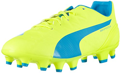 Puma - Evospeed 4.4 Fg Jr, Scarpe da calcio Unisex – Bambini Giallo (Gelb (safety yellow-atomic blue-white 04))