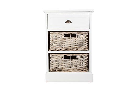 Chatsworth Style shabby chic Blanc Coffre à table de chevet en bois avec 1 tiroir et 2 paniers en osier pour salle de bain, couloir
