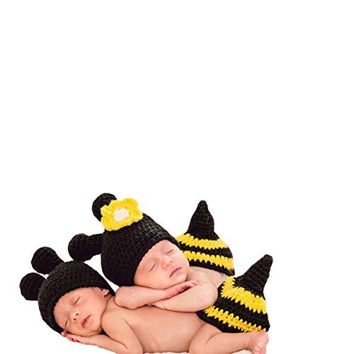 Neugeborenes Baby Mädchen häkeln Kostüm Outfits Fotografie Requisiten Bienenhut+Outfit 0-6 ()
