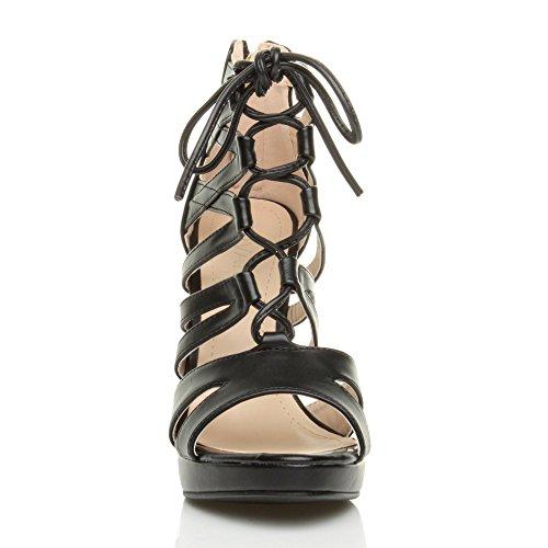 Reimchen Patamar Salto Preto Sapatos Senhoras Renda De Tamanho Toe De Sandálias Mate Bomba Peep Alto aTwqpw8x