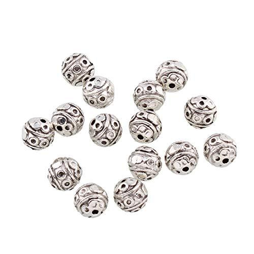 Perlin - Zwischenteile Metallperlen Tibet Silber Perlen Spacer 6mm 45stk Rund Zwischenperlen Für Basteln Schmuck Kette Armband Schmuckteile M531 x3 - Perlen Perler Silber
