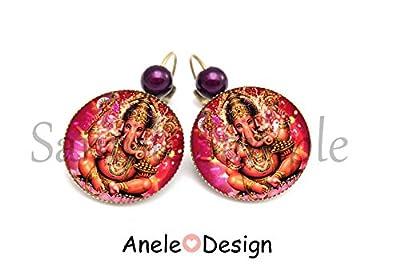 Boucles d'oreille Ganesh - perle violette cabochon