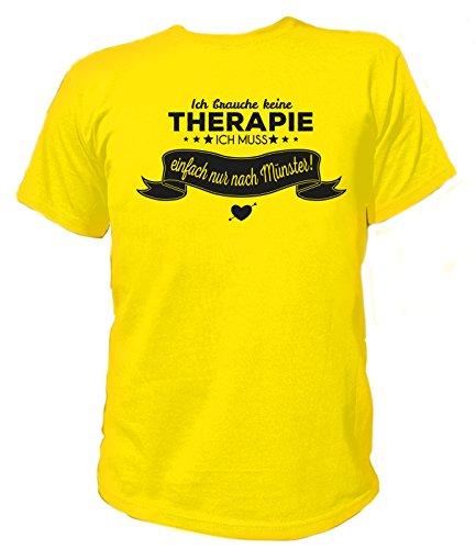 Artdiktat Herren T-Shirt Ich brauche keine Therapie - Ich muss einfach nur nach Münster Gelb