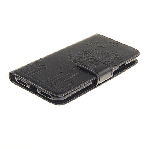 Qiaogle Téléphone Coque - PU Cuir rabat Wallet Housse Case pour Apple iPhone 7 (4.7 Pouce) - TX22 / Couple Pissenlit (Bleu) TX28 / Couple Pissenlit (Noir)