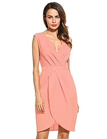 Meaneor Women Elegant Draped Wrap Front V-Neck Sleeveless Bridesmaids Wedidng