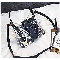 LridSu Bolso Clutch Bolso Transparente Gran Bolsa de Mensajero Transparentes Claro con Mensaje de Mano Equipado con pequeño Bolso Trabajo (Amarillo) (Color : Black, tamaño : 24x11x18cm)