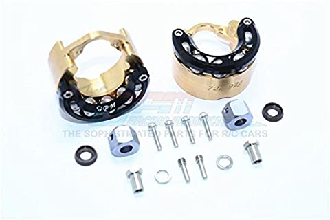 Traxxas TRX-4 Trail Defender Crawler Upgrade Pièces Brass Pendulum Wheel Knuckle Axle Weight With Alloy Lid + 9mm Hex Adapter - 1Pr Set Black