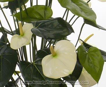 künstliche Anthurium mit 13 weißen Blüten und einer Höhe von 80cm, ohne Topf – Kunstpflanze Kunstbaum künstliche Bäume Kunstbäume Gummibaum Kunstoffpflanzen Dekopflanzen
