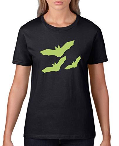 Comedy Shirts - Fledermause - Halloween - Damen T-Shirt - Schwarz/Grün Gr. 3XL