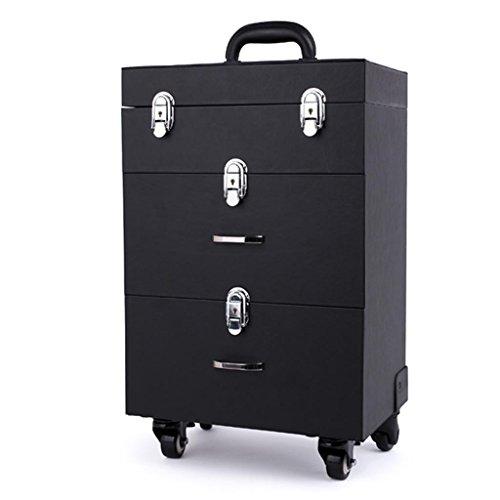 Ali@ Tie Nail Art Tattoo Kit, drei Etagen mit Schublade Aufbewahrungsbox, Maniküre High Capacity Professional Trolley Case Kosmetikkoffer (Farbe : SCHWARZ) - Schublade Montage-kit