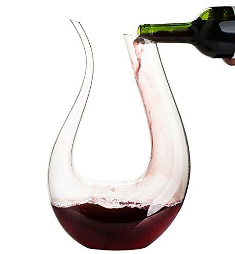Decanter per vino, topda 1.6l cristallo vino decanter in vetro a forma di u vino accessori regalo vino