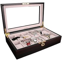 AXIS® Ivory Velvet Dark Mahogany Wooden Storage 12 Watch Box