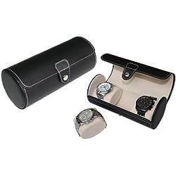 Hochwertige Uhrenbox Woolux Reisebox für 3 Uhren Leder schwarz besonders breite Kissen