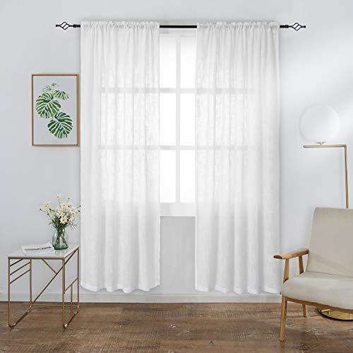 Tenda in voile lino look per finestre pura moderne decorativo porta balcone tessuto morbido per camere da letto due pannelli(2 x 117 x 137cm(l×a),bianco)