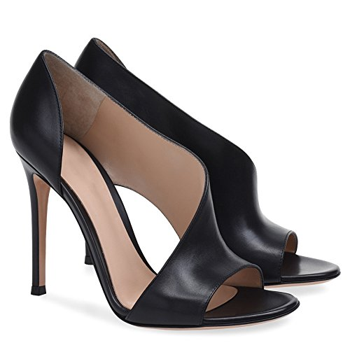 Elobaby Frauen High Heel Dort PU Sandalen Party Größe Sexy Kleid Plattform Mary Kätzchen/Handgemacht, Black, 43 (Handgemachte High Heel Heels)