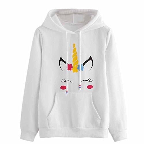 DOLDOA Sudadera con capucha de manga larga de impresión de unicornio para mujer (M, Blanco)
