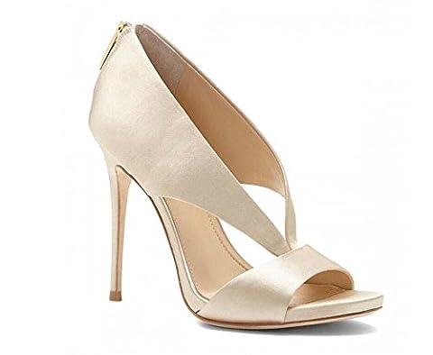 Pump 12cm Stiletto Scarpin D'orsay Pure Color Sandals Wedding Shoes Roman Shoes Women Charming Satin Cloth Peep Toe Zipper High Heels Dress Shoes Party Shoes Large Size 34-43 , white ,