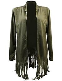 Phenovo Phenovo Women's Long Sleeve Tassel Shawl Cardigan Tops Coat L Army green