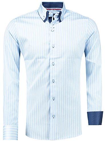 Barbons Herren Premium Streifen Hemd Modern-Fit Designer Hemd mit Kontrast Blau S M L XL XXL 3XL Blau