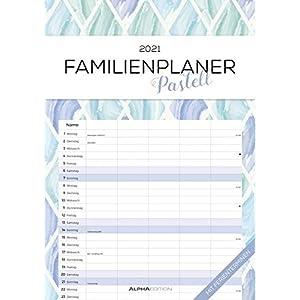 Familienplaner Pastell 2021 - Familienkalender A3 (29,7x42 cm) - mit 5 Spalten - mit Ferienterminen - Wandplaner - mit viel Platz für Notizen - Alpha Edition