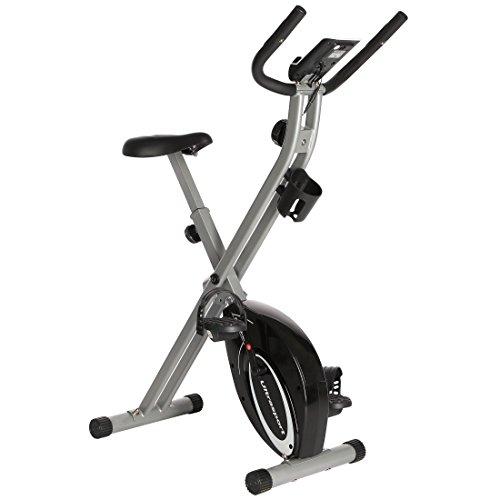 Ultrasport F-Bike Advanced Bcicleta Estática y Fitness Sillín de Gel, Portabidones y Bidón, Pantalla LCD, Sensores de Pulso, Compacta y Plegable, Carga Máxima 110 kg, Unisex Adulto, Plata, OS