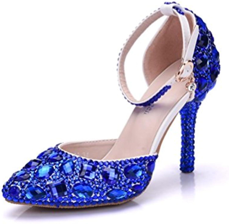 Mariage De mariée mariée mariée Des sandales Cheville Sangle Femmes Bleu Haute Talon Strass Robe Soir Printemps Pointu Dames...B078L1Y9M5Parent f56f18