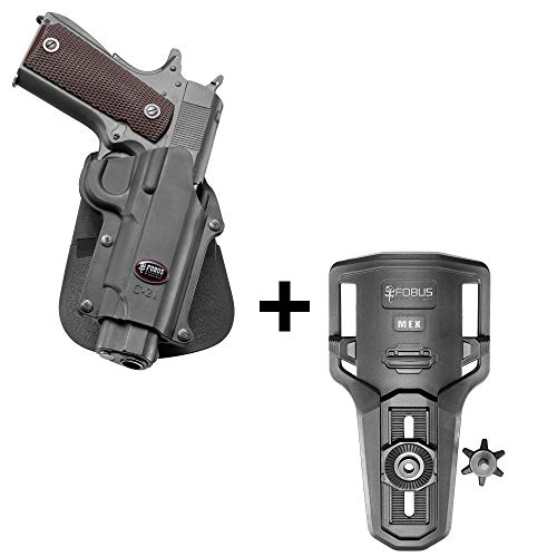 Fobus rotating roto tactical retention holster + Lowride belt holder attachment for Colt 45 Government & All 1911 style / FN High power / FN 49 / Kimber 4&5 inch / Sasilmaz Klinic 2000 light / Browning Hi-power Mark III 4, 5mm. / Browning GPDA 9 pistols