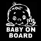 EROSPA® Auto-Aufkleber KFZ - Baby On Board - Car-Sticker (Silber)