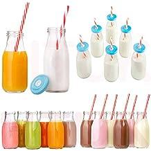 HTUK® Juego de botellas de leche estilo retro, juego de 6 unidades, botellas de vidrio, con pajitas y tapas, reutilizables, transparentes, 300 ml