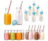 Retro Milch Flasche trinken Glas 6er Set mit wiederverwendbar Trinkhalme & Deckel wiederverwendbar Vintage Milchprodukte Flasche Getränk klar Gläser 300ml htuk®