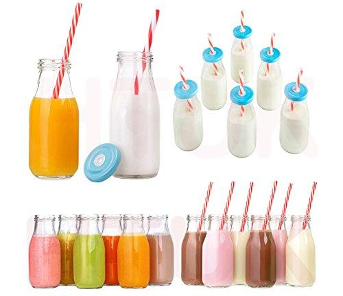 aus Glas; 6er-Set mit wiederverwendbaren Trinkhalmen und Deckeln, Glasware 300ml von HTUK® (Kunststoff-gläser Mit Strohhalmen)