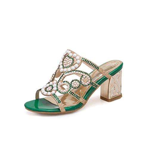 JITIAN Frauen Sexy Pearl Hollow Slide Sandalen Open Toe Slip auf rohen Ferse Maultiere Pumps Sommerkleid Schuhe