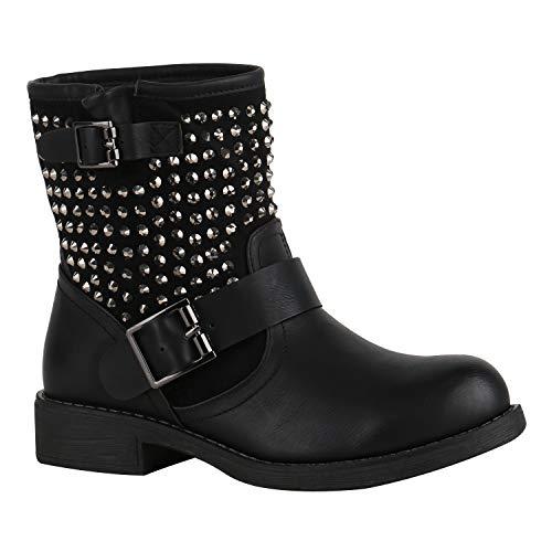 Damen Biker Boots Stiefeletten Stiefel Schnallen Leicht Gefüttert Schuhe 150363 Schwarz Nieten Nieten 38 Flandell