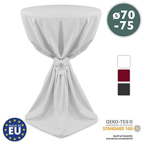 Beautissu Stehtischhusse Weiß Ø70 x 145 cm Giulia Microfaser Stehtischhussen mit elegantem Satinband